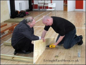 Matt from Ebay with no carpenty experience, bravely takes on making the skate ramp with the help of local resident.