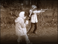 Erm kids seem to think they need weapons to go for a walk.