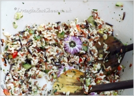 rice salad with chive flower heads