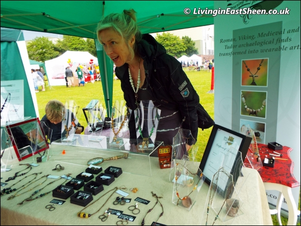 Genuine certificated artifact jewellery seller at Mortlake Fair