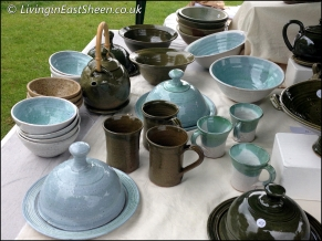 Beautiful pottery, dark green and sea blue