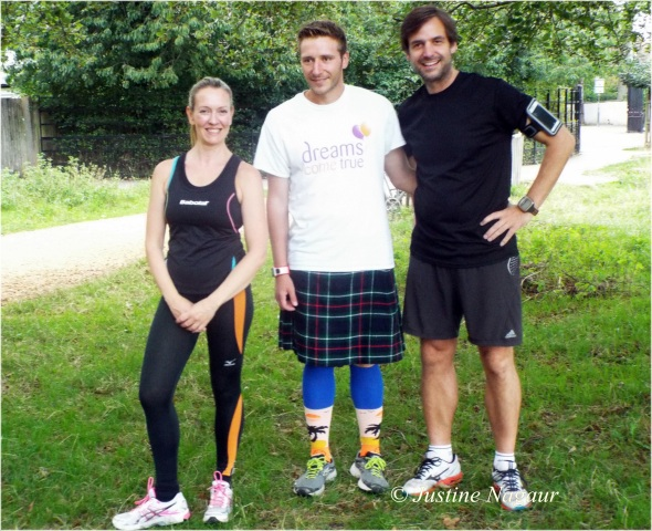MarathonManUK Robert Young with supportive local runners
