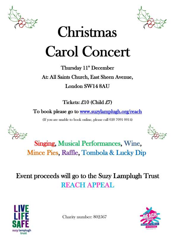Christmas Carol Concert Thurs 11th December in aid of REACH
