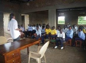 New college building and Edwin teaching class