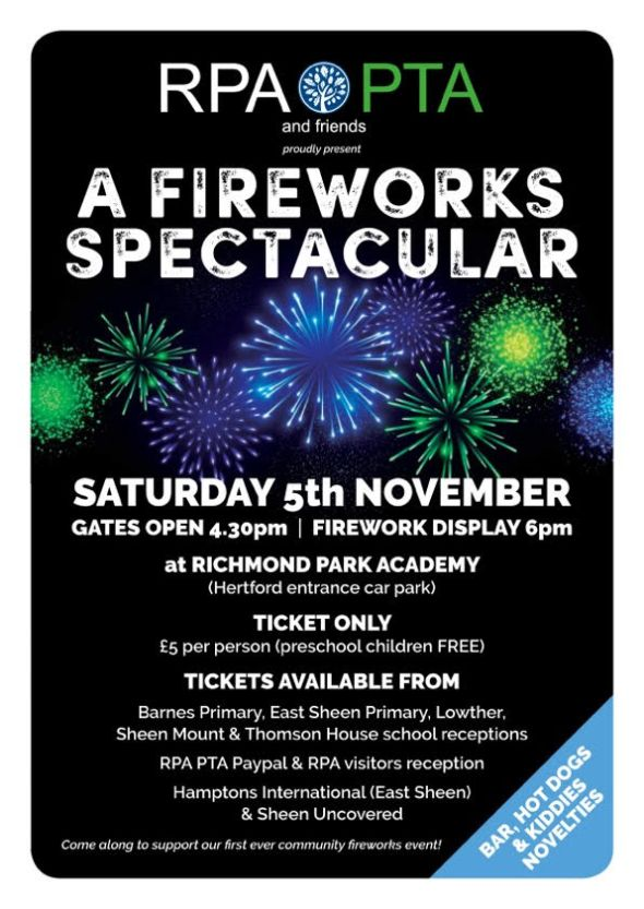Richmond Park Academy Fireworks Saturday 5th November 4.30pm onwards