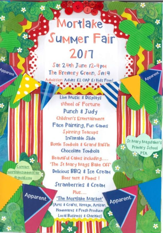 Annual Mortlake Summer Fair, Saturday June 24th at the Stag Brewery playing fields in Mortlake.